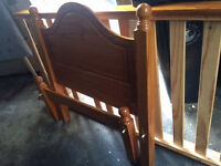 Solid pine single bed with headboard