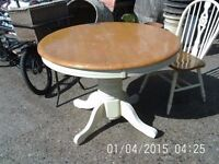 Round Pine Farmhouse Table with 4 Chairs and Pullout