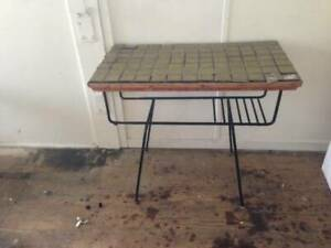 Mid-century wrought-iron tiled table