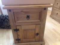 mexican pine wood bedside table