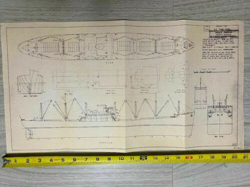 "Vintage Ships Blueprint US Merchant Ship C-3 Cargo Passenger by 21""x11"""