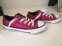 Girls pink sparkly Converse trainers-UK 11.5/EUR 29-mint condition