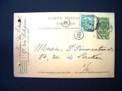 ST JOSSE TEN NOODE  MERIDIEN - BXL TACITURNE 1907  COBA 2X  T1L + 4  (ana50)