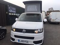 (63) 2013 VW T5 CAMPER VAN,MOTOR HOME 2.0 TDI POP TOP, AIR CON, LOW MILES!!! WARRANTY DVLA REGI