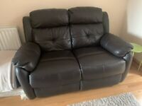 3 seat, 2, seat and 1 seat reclining leather sofa and storage foot stool