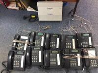 10 Panasonic office phones and control box, perfect working order, call divert,hold,speakerphone