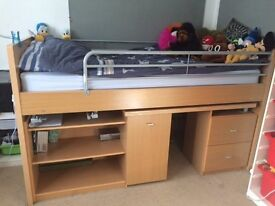 3ft Raised wooden bed with fold-away ladder, shelves and drawers