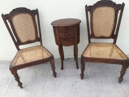 Dining Chairs/Occasional Chairs(2)-mahogany and wicker, in vgc