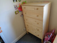 CHEST OF 5 DRAWERS PINE WOOD (IKEA)