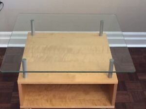 IKEA Glass-Top Coffee Table (with wheels!)