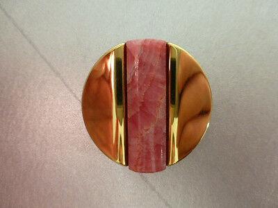 Brosche Rhodochrosit, gutes Schmuck- Design der 70er -80er Jahre, Gold- Double ()