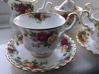 Vintage Two Cup Tea Set - Royal Albert Bone China 'Old Country Roses' - Unused