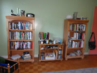 Pair of Matching Bookcases with Small Table