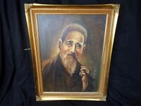 Oil Canvas Art Painting In The Dutch Old Masters 19th Century Style Pipe Smoker