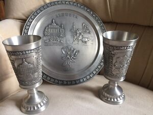 Pewter Tray and Goblets Kingston Kingston Area image 1