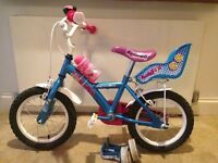 Apollo PomPom Kids Bike 14'' with stabilisers, water bottle, bell