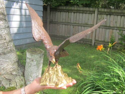 "Large Brass Golden Eagle Statue 16"" Wingspan"
