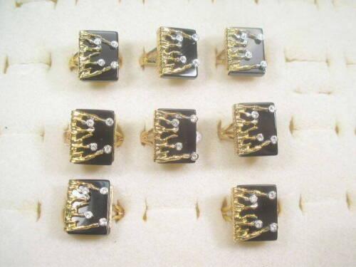 `7...  ONYX RINGS DESIGNER VINTAGE GEMSTONE SEMI-PRECIOUS CRYSTALS  L0T 031XUP