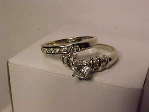 #3414-**Just Stunning! APPRAISED AT $6,550.00-14K  W/Gold Wedding Set--1.04 Carat total of Diamonds Free S/H-or LAYAWAY