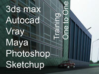 Autocad Training London, Photoshop Training London, Sketchup Tutor, 3ds max 3d studio max tutor Vray