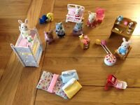Sylvanian Characters various:- desk, bunk beds, back-pack with books and birthday cake with candles