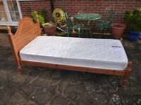Solid Pine Single 3ft Bed & John Lewis Mattress in Ex Cond