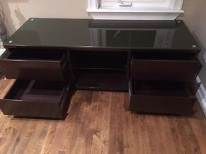 TV Trolley - TABLE WITH SHELVES DARK BROWN