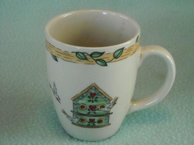Thompson Pottery Coffee Cup w Flowers Butterfly Vines