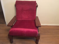 SOLID WOODEN ARMCHAIR, LITTLE USED, IN VERY GOOD CONDITION, REDUSED TO CLEAR