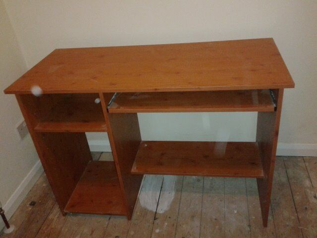 OFFICE DESK AND CHAIR FOR SALE, BROWN DESK, BLACK CHAIR