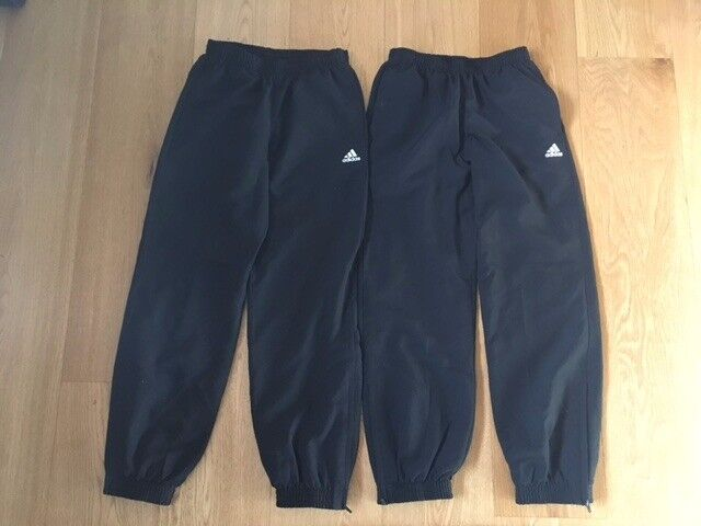 2 pairs of girls black genuine Adidas Climalite tracksuit bottoms in excellent / as new condition