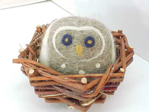 Adorable Hand Felted Soft Sculpture Owl In Nest