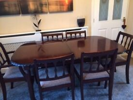 6ft extending mahogany table with 6 chairs