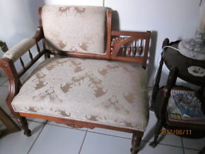 ANTIQUE  LOVESEAT & 3 matching CHAIRS