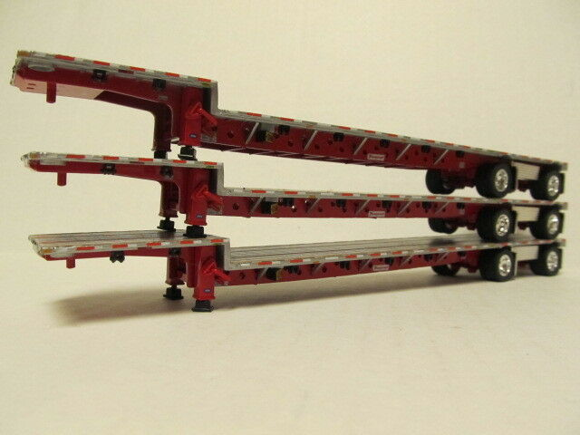 3   DCP 1/64 SCALE TRANSCRAFT STEP DECK TRAILERS  SILVER DECK WITH RED FRAME
