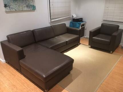 Lounge Suite chocolate brown leather with arm chair & chaise