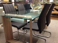 New Milan 5ft Glass Dining Table & 4 chairs only ��299 in store