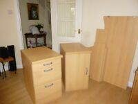 Office furniture 4-piece set (Argos Marino 1 & 2 door cupboards , desk, Morgan 3 drawer unit)