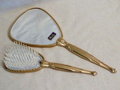 VINTAGE GOLD PLATE MATSON FIFTH AVE HAIR BRUSH HAND MIRROR VANITY DRESSER SET