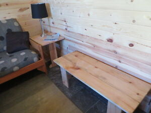 Cedar benches and endtables