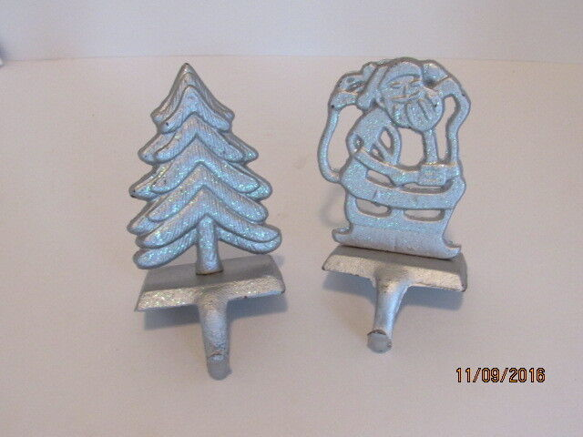 Estate Pair Silver Christmas Heavy Cast Stocking Holders Mantle Display Decor