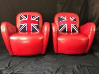 Pair Art Deco Chesterfield Style Italian Ferrari Red Leather Slim Club Armchairs