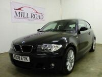 BMW 1 SERIES 2.0 118D M SPORT 3d 141 BHP ONLY 2 OWNERS (black) 2008