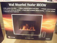 Black Glass Electric fire .Wall mounted type