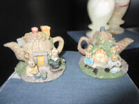 Minutely detailed tea pot houses £3 for pair or £2 each
