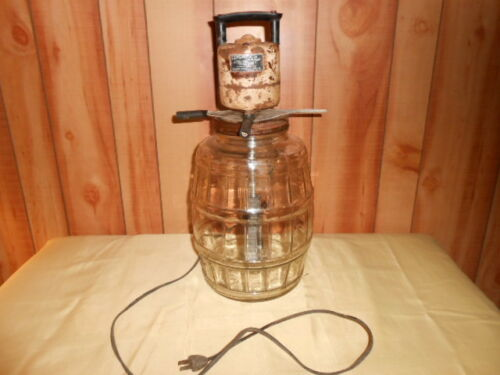 Vintage Gem Dandy De Luxe Electric Churn Duraglas Jar W/ Lid (WORKING)