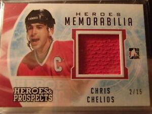 carte de hockey Chris Chelios Prospects Heroes Memorabilia Red