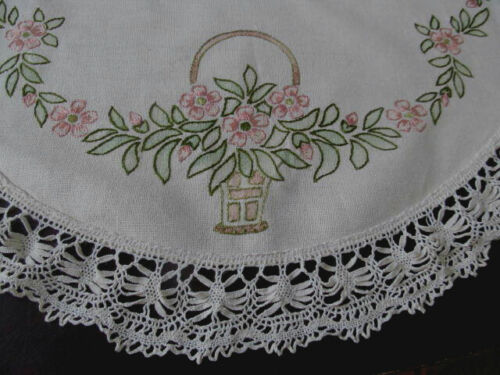 Antique Hand Embroidered Round Centerpiece Topper Tablecloth w/Lace Trim 27""