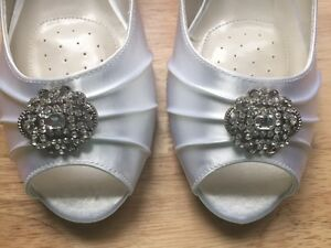 Brand New Never Worn White Satin Wedge Wedding Shoes Peterborough Peterborough Area image 2