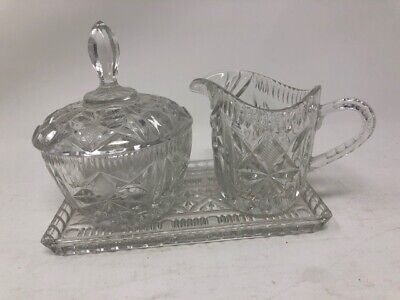Vintage LEAD CRYSTAL CREAMER, COVERED SUGAR SET w/ Tray - West Germany